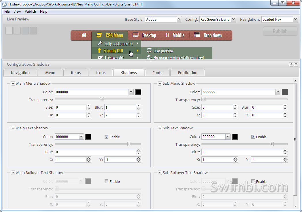 Swimbi, Development Software Screenshot
