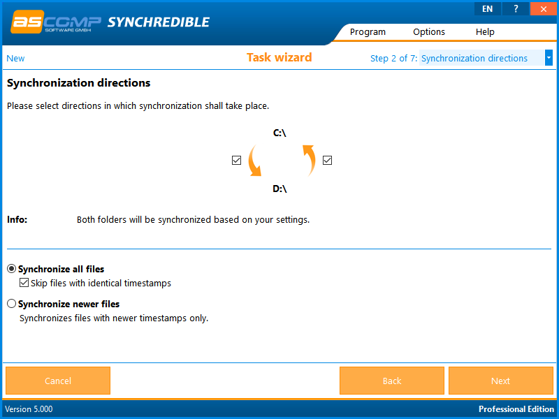 Synchredible, Files and Folders Software Screenshot