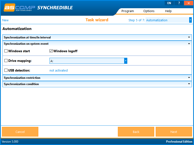 Files and Folders Software, Synchredible Screenshot