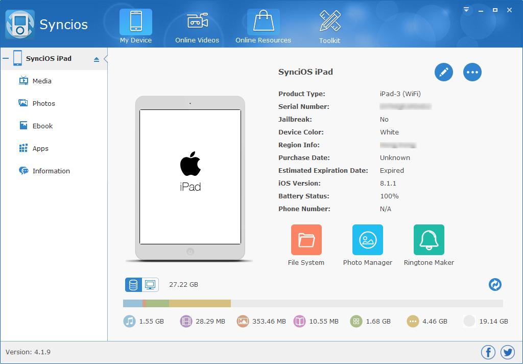 Syncios Pro. Screenshot
