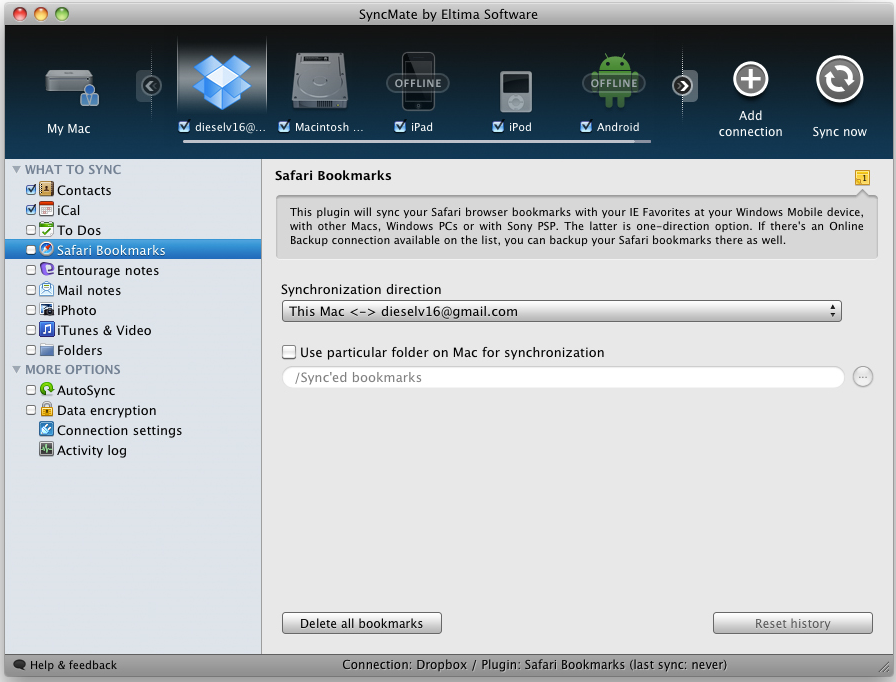 SyncMate, File Sync Software Screenshot