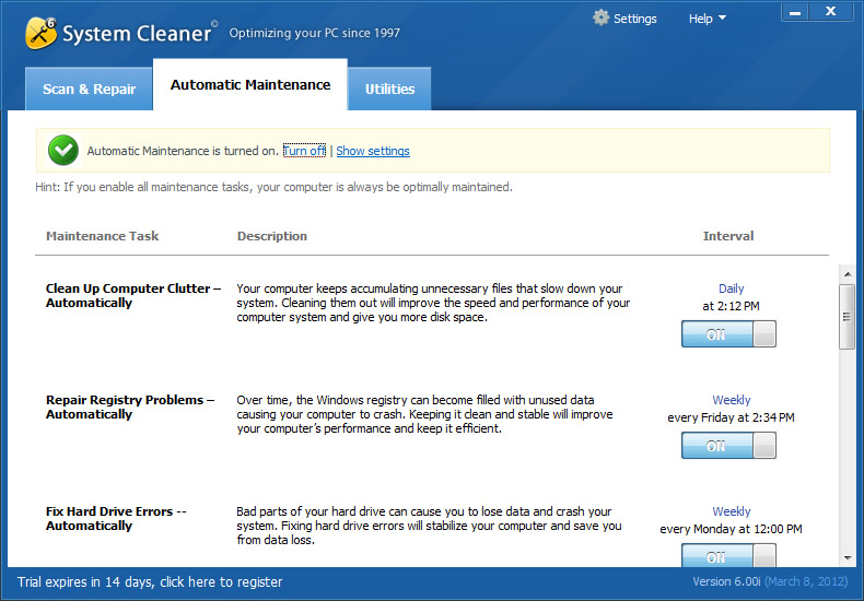 System Cleaner, PC Optimization Software Screenshot
