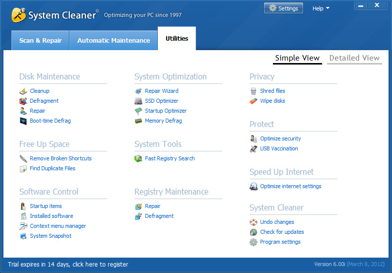 System Cleaner, Software Utilities Screenshot