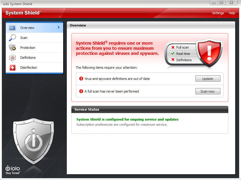 System Shield AntiVirus & AntiSpyware, Security Software Screenshot