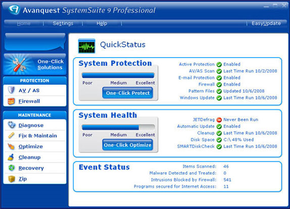 System Tweaker Software Screenshot