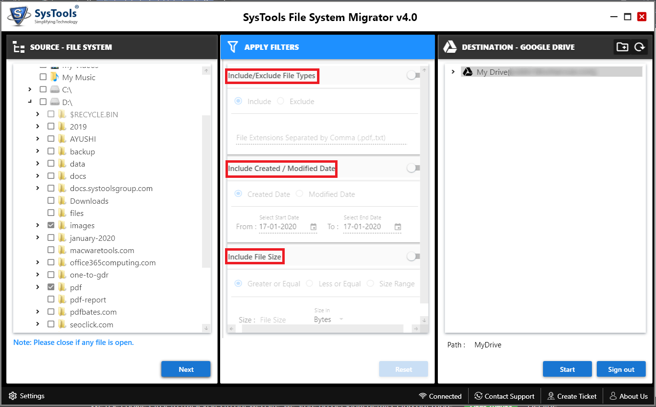 SysTools File System Migrator, Software Utilities Screenshot