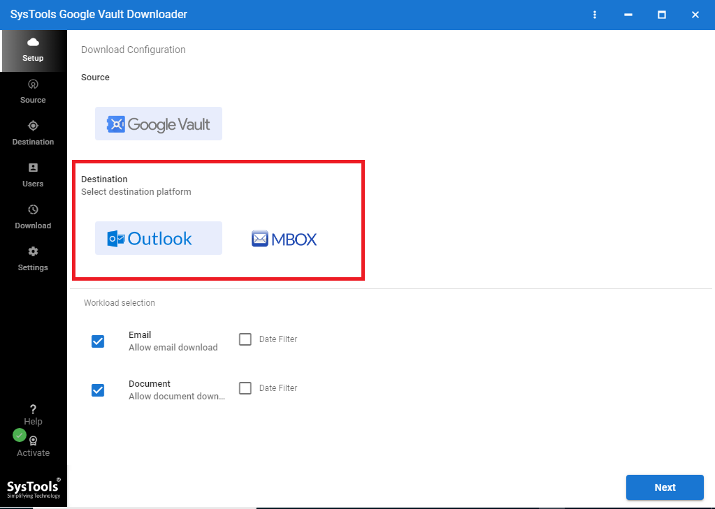 SysTools Google Vault Downloader Screenshot