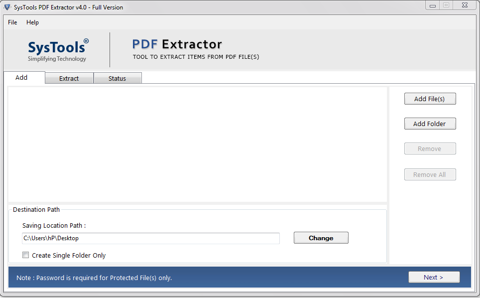 SysTools PDF Extractor Screenshot