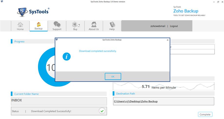 SysTools Zoho Backup Tool, Security Software Screenshot