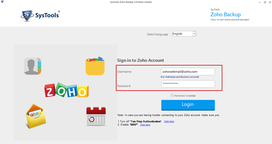 SysTools Zoho Backup Tool Screenshot