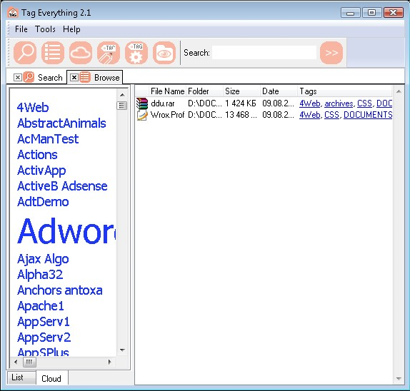 Search and Replace Software, Tag Everything Screenshot