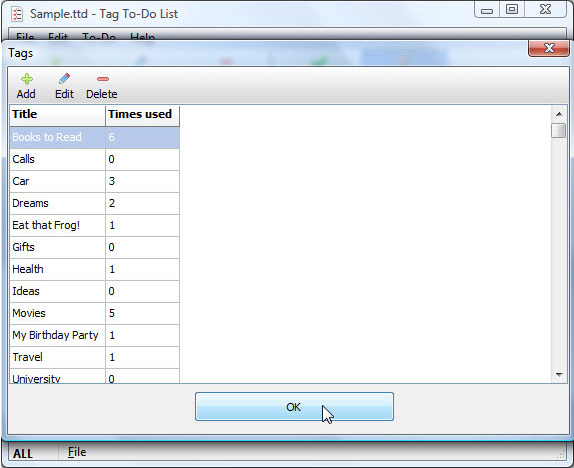Tag To-Do List, Productivity Software Screenshot
