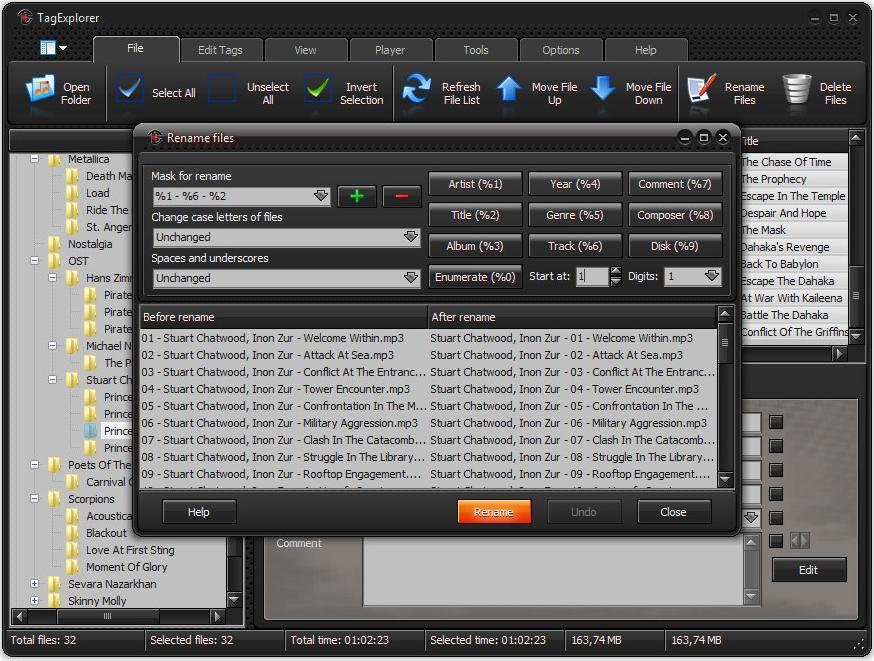 TagExplorer, MP3 Tag Editing Software Screenshot