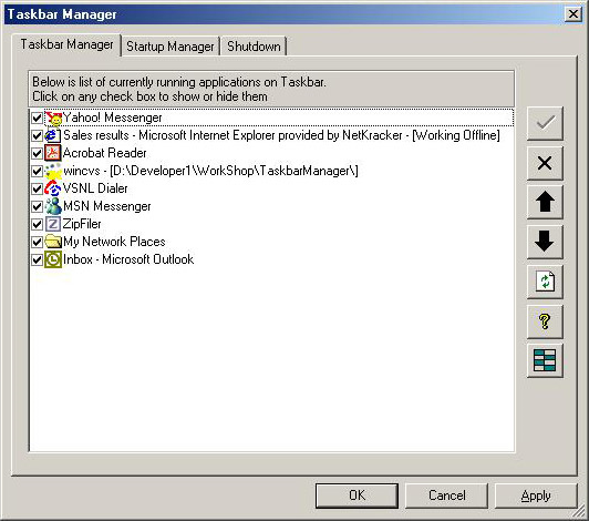 Taskbar Manager Screenshot