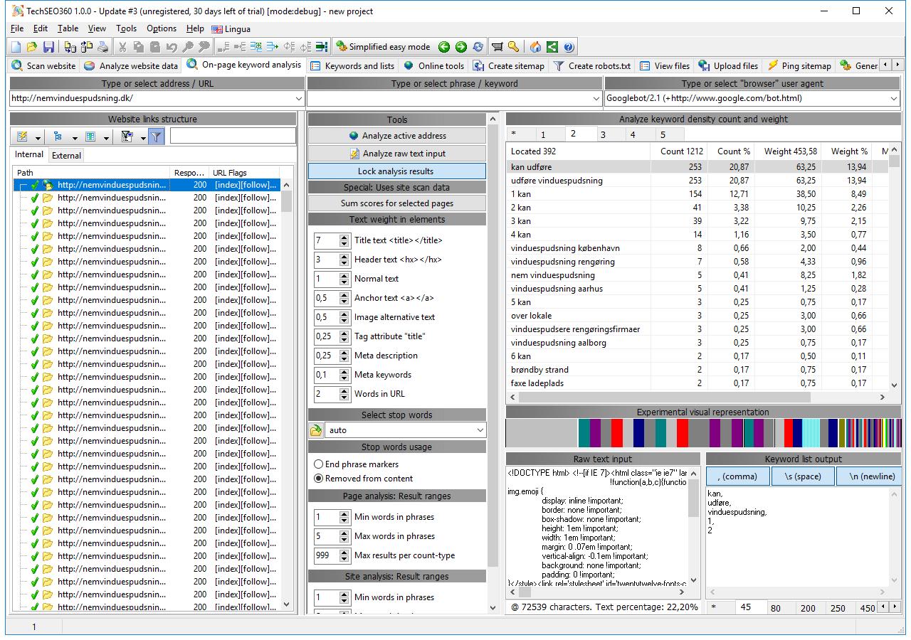 TechSEO360, Development Software Screenshot
