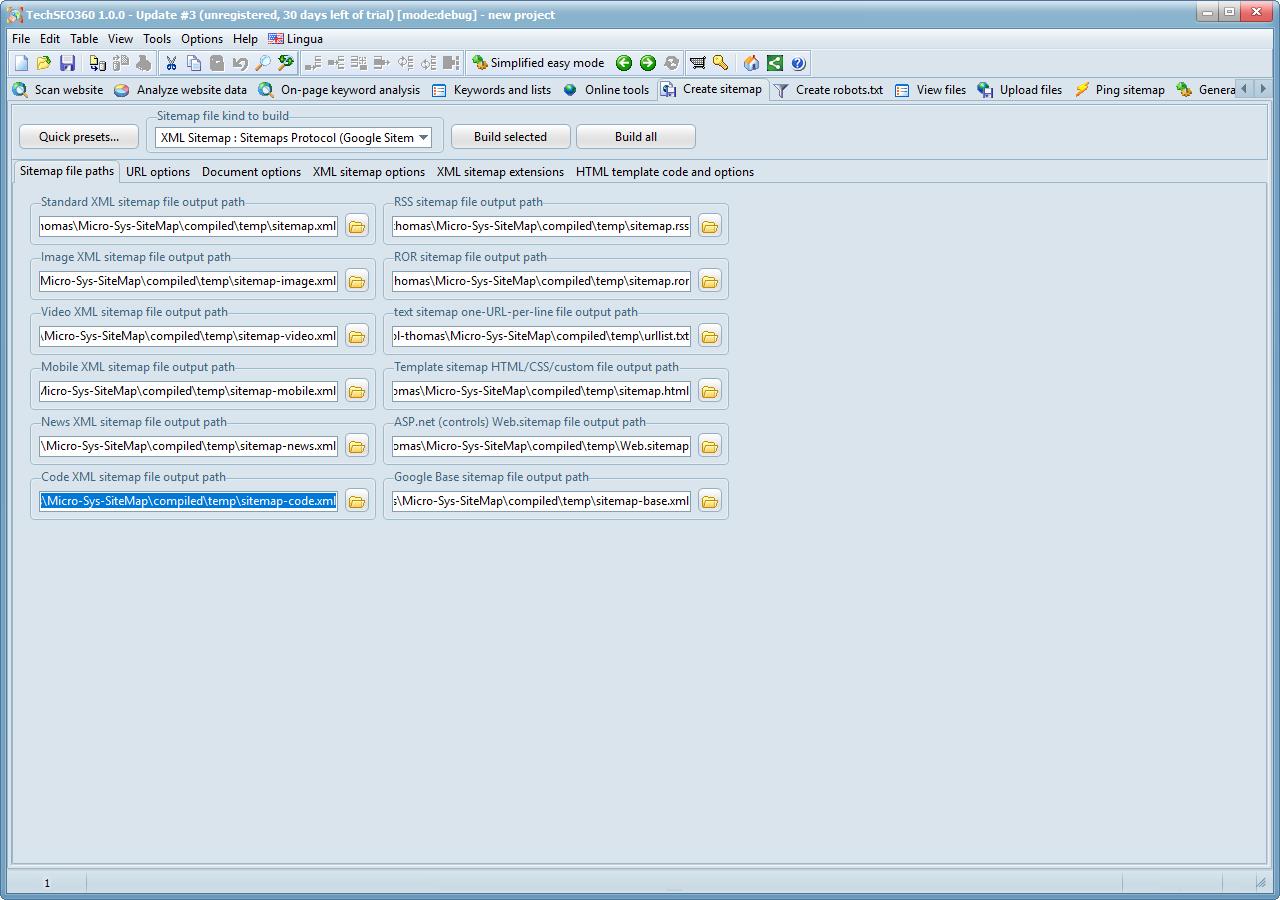 Development Software, TechSEO360 Screenshot