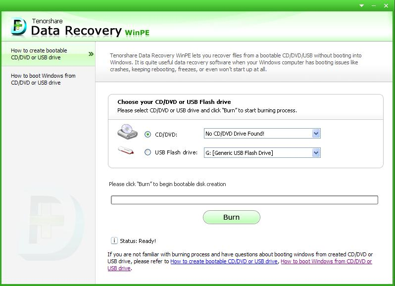 Tenorshare Data Recovery WinPE Screenshot