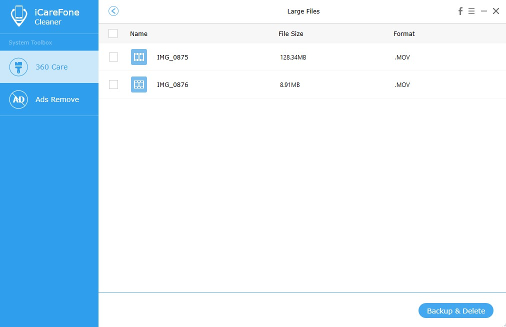 Tenorshare iCareFone Cleaner, System Tweaker Software Screenshot