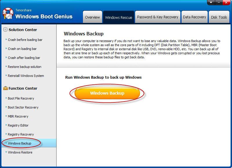 PC Optimization Software, Tenorshare Windows Boot Genius Screenshot