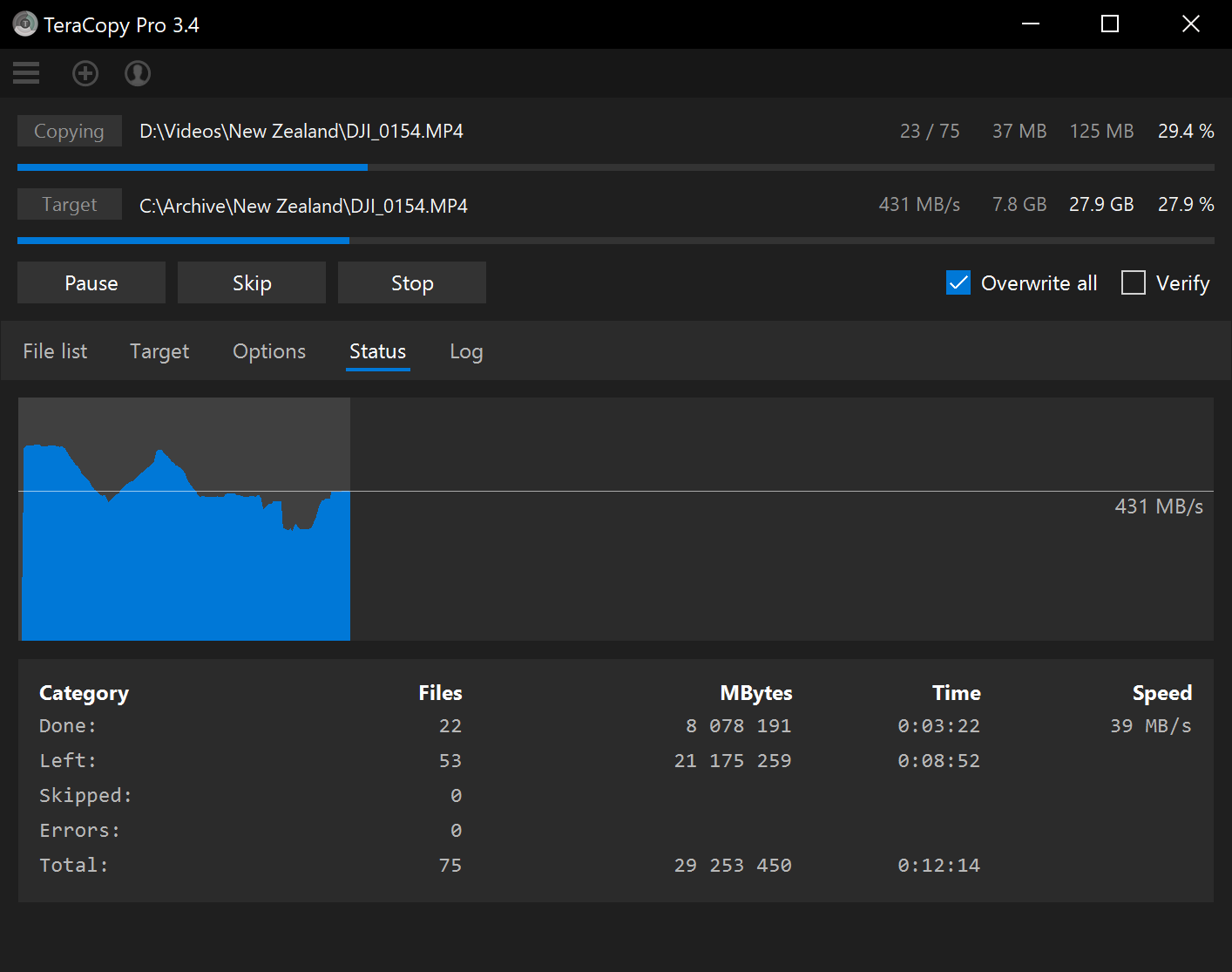 File Management Software, TeraCopy Pro Screenshot