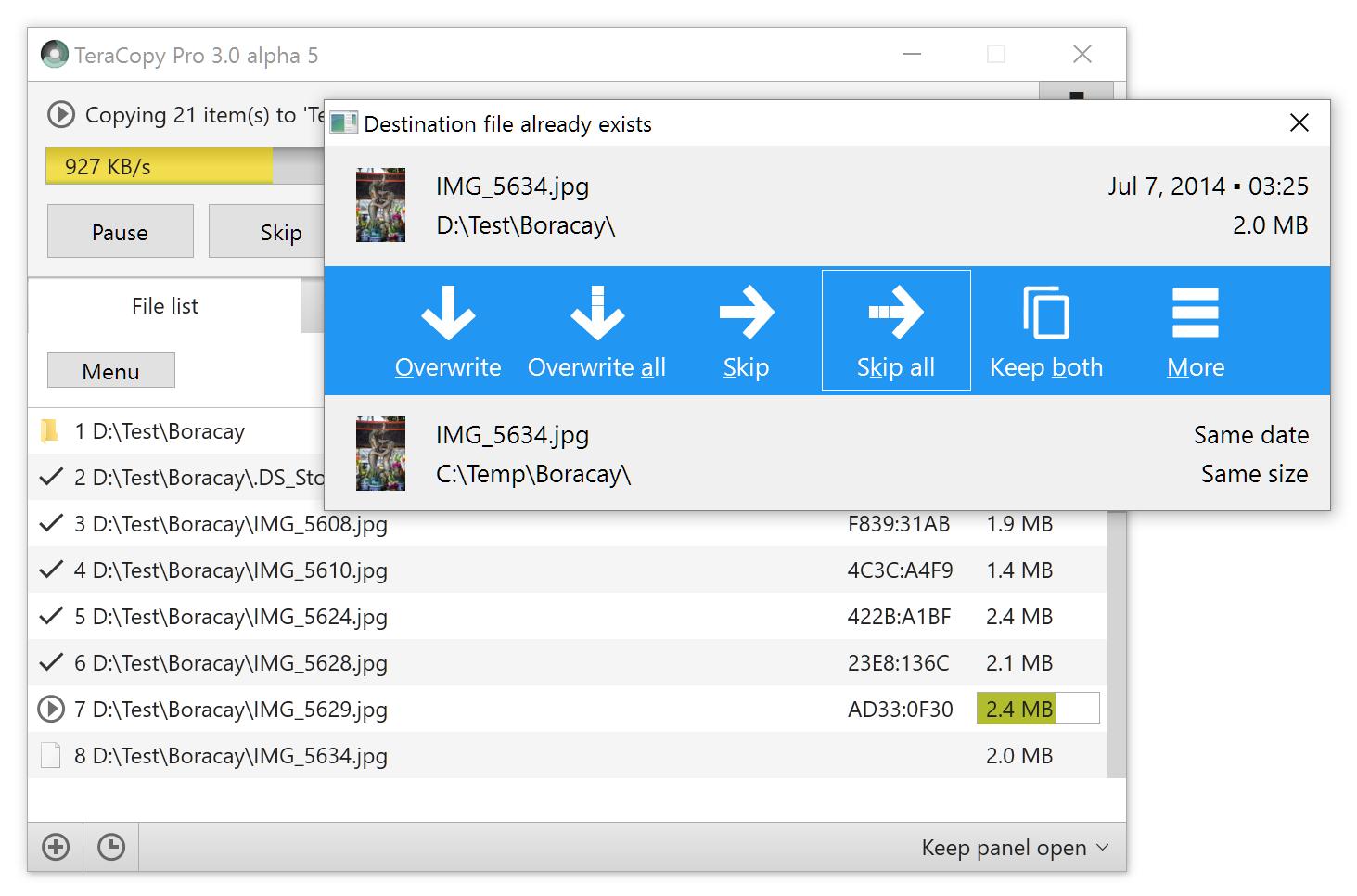 TeraCopy Pro, Software Utilities Screenshot