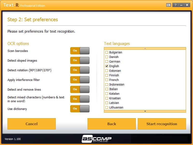 Text-R, Document Conversion Software Screenshot
