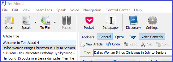 Text to Speech Software, TextAloud 4 Screenshot