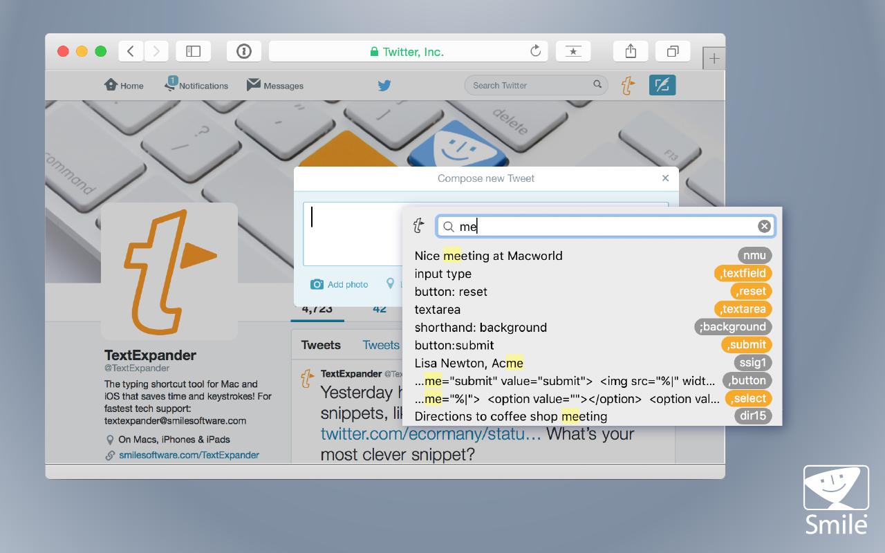 TextExpander, Typing Software Screenshot
