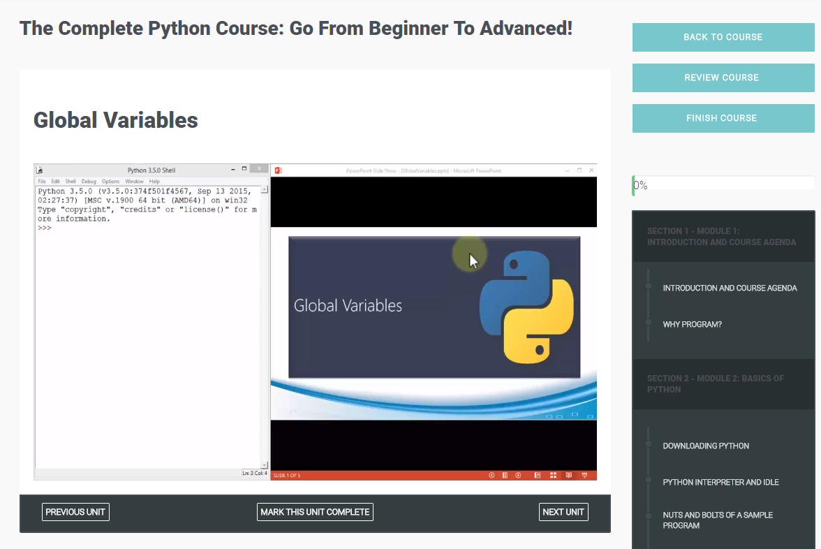 The Complete Python Course: Go From Beginner To Advanced!, Learning and Courses Software Screenshot