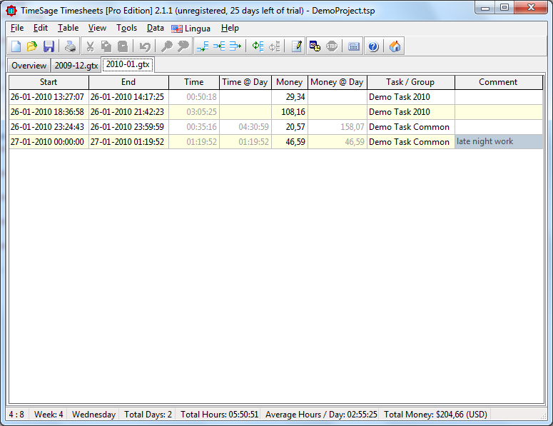 TimeSage TimeSheets 2.x Screenshot