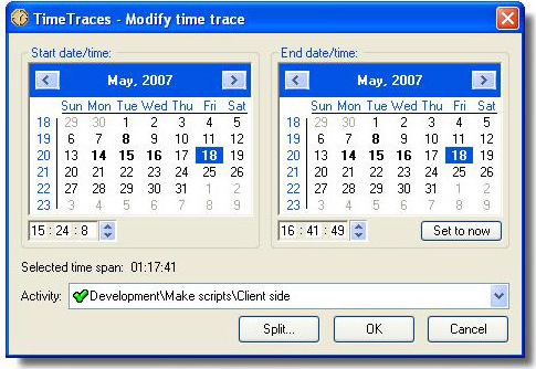 TimeTraces, Time Tracking Software Screenshot