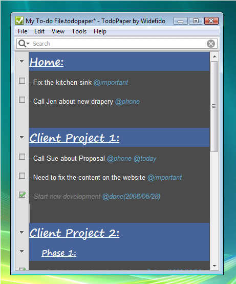 TodoPaper, Productivity Software Screenshot
