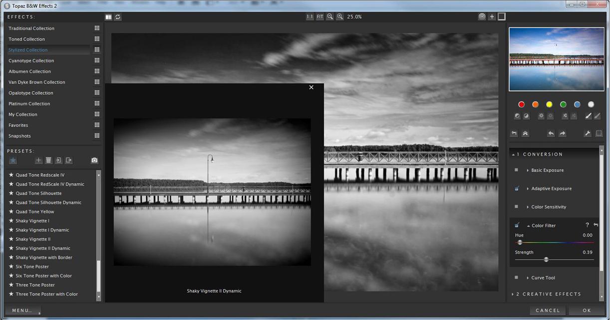 Photo Editing Software, Topaz B&W Effects Screenshot