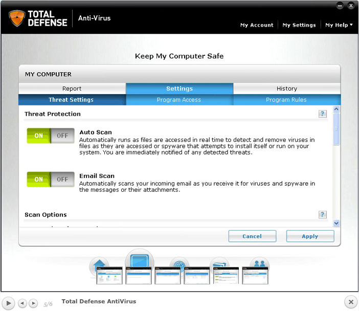 Total Defense Anti-Virus, Antivirus Software Screenshot