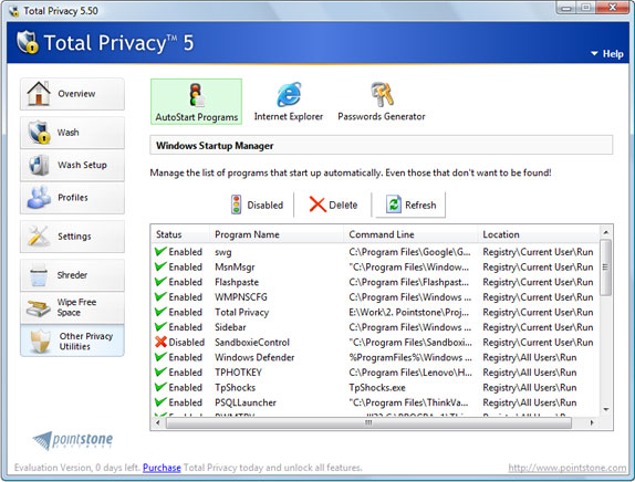 Total Privacy, Security Software, Privacy Software Screenshot