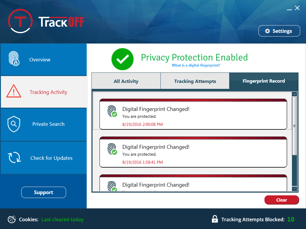 TrackOFF Privacy Software, Security Software Screenshot