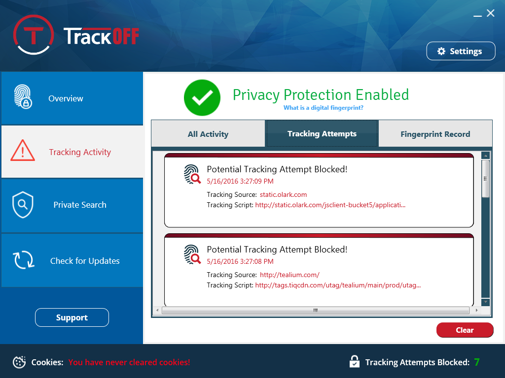 TrackOFF Privacy Software, Privacy Software Screenshot