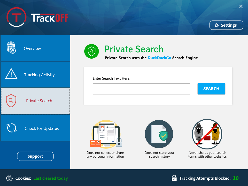 Privacy Software, TrackOFF Privacy Software Screenshot