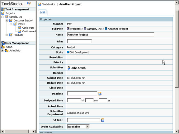 TrackStudio Enterprise Starter Kit, Project Management Software Screenshot