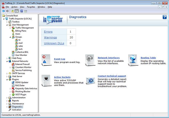 Traffic Inspector, Internet Software Screenshot