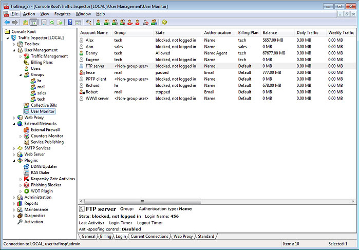 Traffic Inspector Gold, Network Software Screenshot