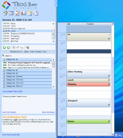 Trog Bar, To-Do List Software Screenshot