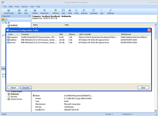 Trogon Network Inventory, System Inventory Software Screenshot