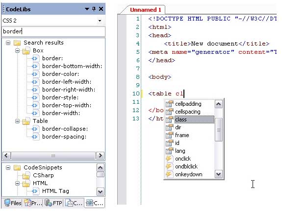 HTML Editor Software, TSW WebCoder 2007 + SiteSync Screenshot