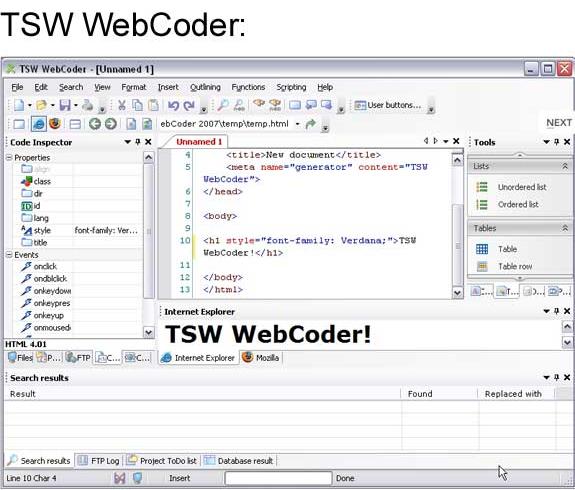 TSW WebCoder 2007 + SiteSync Screenshot