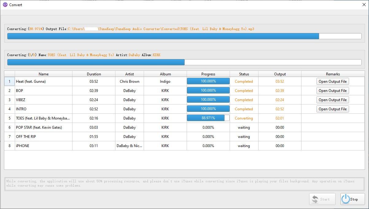 TuneKeep Audio Converter, Audio Conversion Software Screenshot