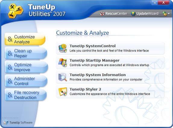 TuneUp Utilities 2007 Screenshot