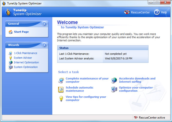 Software Utilities, TuneUp Utilities 2007 Screenshot