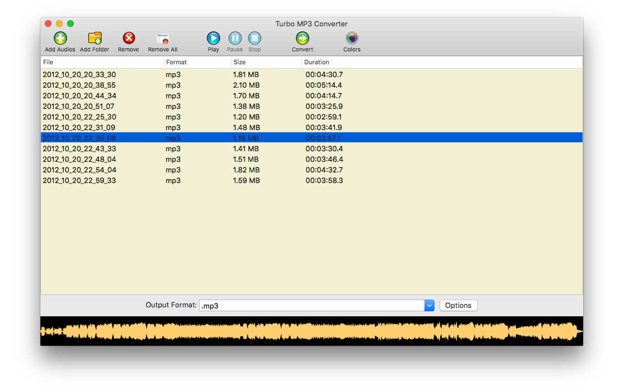 Turbo MP3 Converter, Audio Conversion Software Screenshot