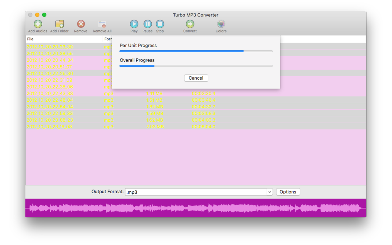 Audio Conversion Software, Turbo MP3 Converter Screenshot